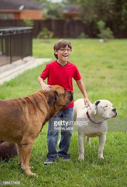kid with 2 dogs in the backyard