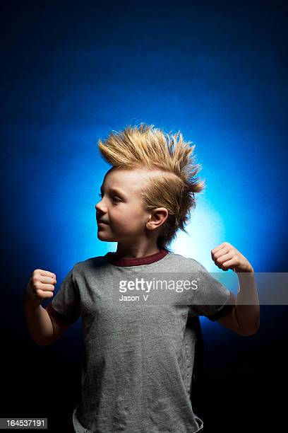 kid with a mohawk - mohawk stock photos and pictures
