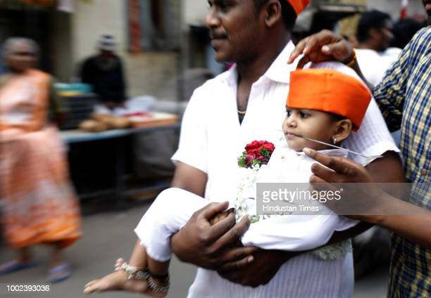 A youngster with piercings all over his body during a procession in memory of Chota Shaikh Salla at his dargah in Kasba Peth on July 19 2018 in Pune...