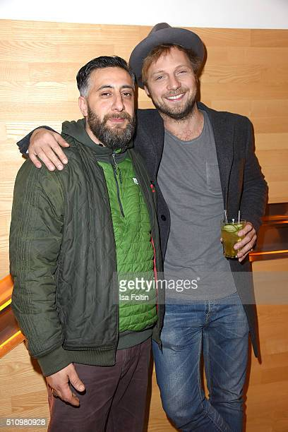 Kida Khodr Ramadan and Christoph Letkowski attend the PantaFlix Party on February 17 2016 in Berlin Germany