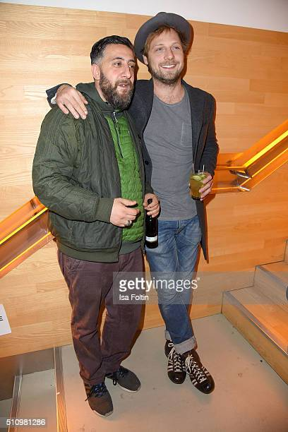 Kida Khodr Ramadan and Christoph Letkowski attend the PantaFlix Party on February 17, 2016 in Berlin, Germany.
