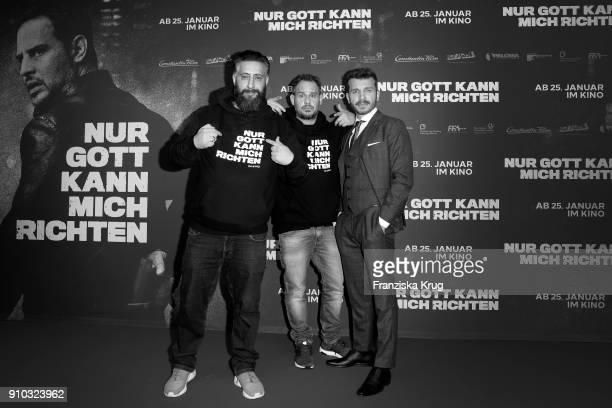 Kida Khodr Ramadan Moritz Bleibtreu and Edin Hasanovic attend the 'Nur Gott kann mich richten' Screening at Cubix Alexanderplatz on January 25 2018...