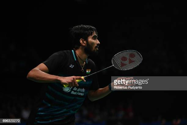 Kidambi Srikanth of India competes against Jan O Jorgensen of Denmark during Mens Single Round 2 match of the BCA Indonesia Open 2017 at Plenary Hall...