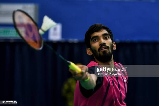 Kidambi Srikanth of India competes against Jonathan Christie of Indonesia during the EPlus Badminton Asia Team Championships 2018 at Sultan Abdul...