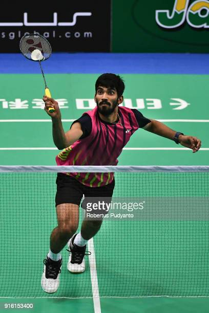 Kidambi Srikanth of India competes against Shi Yuqi of China during Men's Team Quarterfinal match of the EPlus Badminton Asia Team Championships 2018...