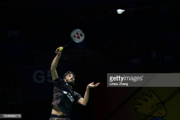 Kidambi Srikanth of India hits a shot against Pablo Abian of Spain in their Men's singles match during the day three of Total BWF World Championships...
