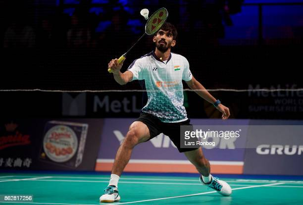 Kidambi Srikanth of India in action during the day one at the DANISA Denmark Open Badminton tournament at Odense Idratshal on October 18 2017 in...