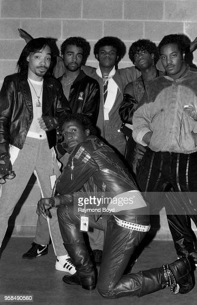 Kidd Creole Mr Broadway Larry Love Lavon Rahiem and Grandmaster Flash from Grandmaster Flash and The Furious Five poses for photos backstage at the...