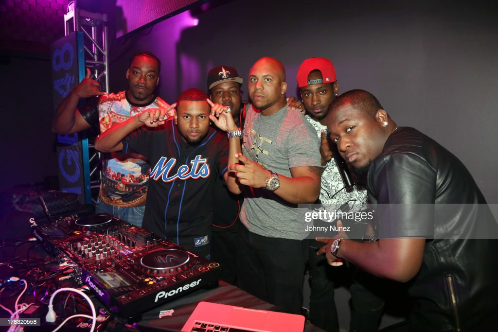 DJ Kidd (2nd L), DJ K-Dawg (3rd L), DJ Scoota (3rd r), and guests attend NY Knicks player JR Smith, Slow Of Slowbucks & Big Ben's Birthday Celebration at Stage 48 on August 28, 2013 in New York City.
