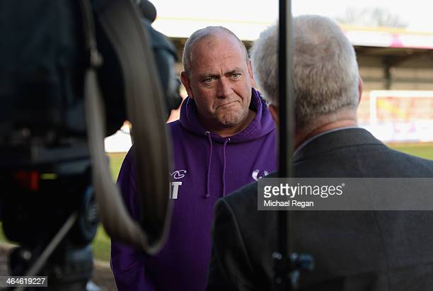 Kidderminster Harriers manager Andy Thorn speaks to the media during the Kidderminster Harriers press conference at Aggborough Stadium on January 23,...