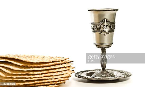 kiddush cup with matzo - happy passover stock pictures, royalty-free photos & images