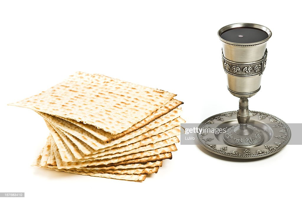 Kiddush cup with matzo : Stock Photo