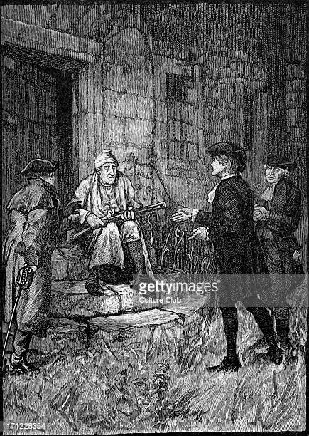 Kidnapped Kidnapped by Robert Louis Stevenson Illustration by WBHole Caption reads 'My uncle sat on the doorstep with the blunderbuss in his hands'...