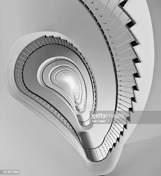 Kidney shaped spiral staircase in black & white. These steps seem to end in a bright light.