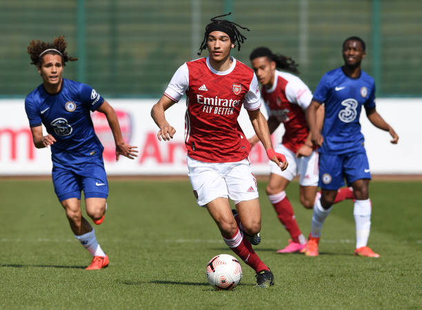 Kido Taylor-Hart of Arsenal during the U18 Premier League south match between Arsenal u18 and Chelsea U18 at London Colney on April 20, 2021 in St...