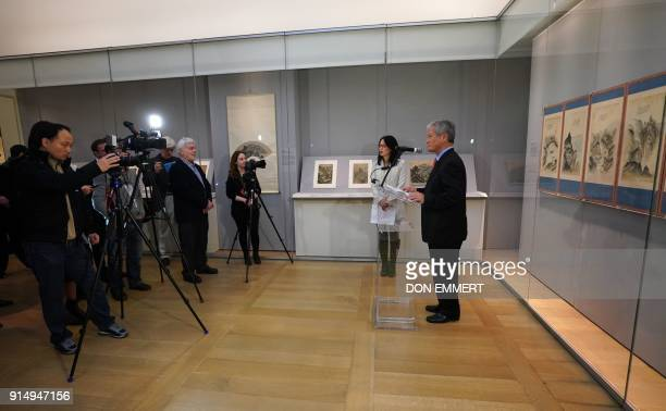BAE Kidong director general National Museum of Korea talks with reporters during a press preview of 'The Diamond Mountains' February 6 2018 at the...