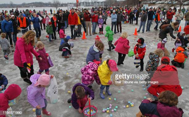 Kids age 3 to 5 scrambled for eggs at the start of the 15th annual Community Easter Egg Hunt sponsored by Our Savior Lutheran Church where more than...
