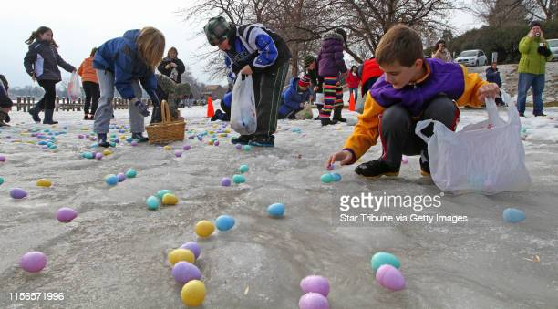 Kids age 9 to 11 scrambled for eggs at the start of the 15th annual Community Easter Egg Hunt sponsored by Our Savior Lutheran Church where more than...