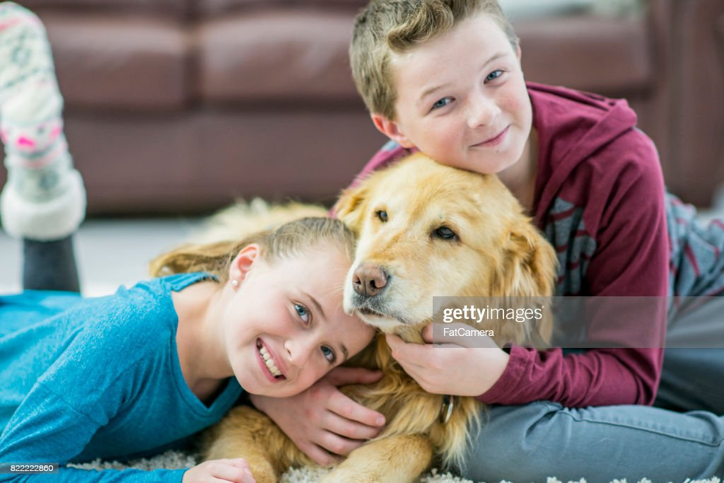 Kids And Dog : Stock Photo