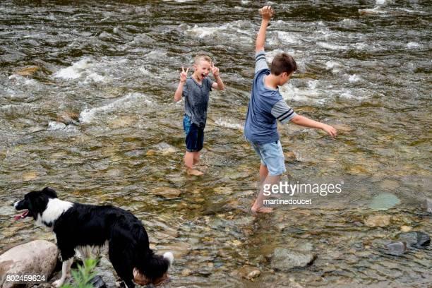 """crianças e cachorro jogando no rio, molhando suas roupas. - """"martine doucet"""" or martinedoucet - fotografias e filmes do acervo"""