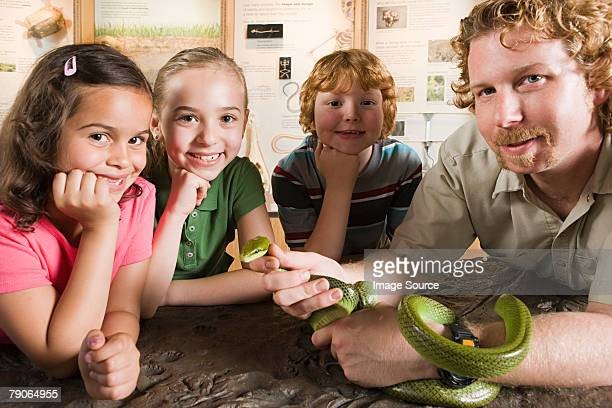 kids and zoo keeper with snake - zoo keeper stock pictures, royalty-free photos & images