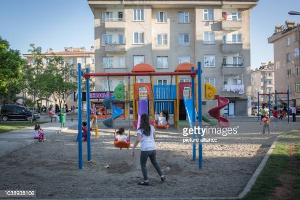 Kids are playing in a public park in Gazikent Gaziantep Turkey on 22/4/16 Tens of thousands of syrian refugees have moved in Gaziantep in last years...