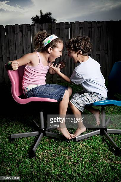 kids arguind - nasty little girls stock photos and pictures