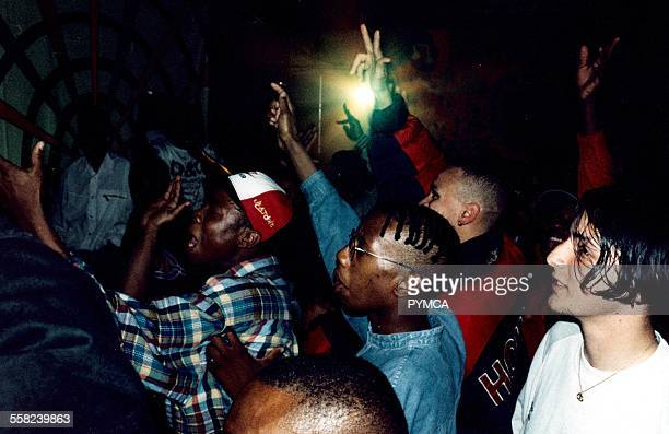 Kids at an Under18s rave club UK 1990s