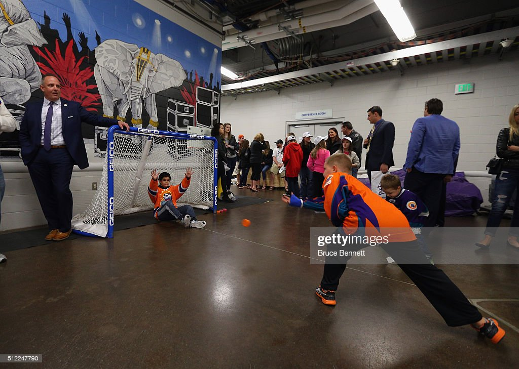 Kids at play outside the Orlando Solar Bears lockerroom wait for players following a game against the Atlanta Gladiators at the Amway Center on February 13, 2016 in Orlando, Florida.