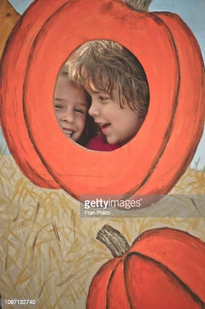 Kids at pumpkin patch.