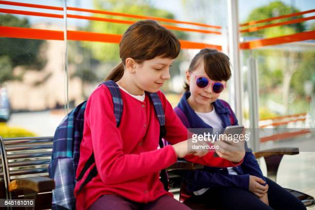 Kids at the tram stop
