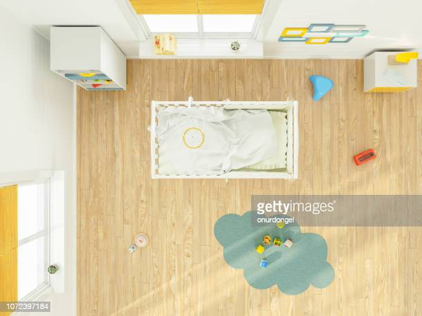kid's bedroom with furniture overhead top view - empty crib stock photos and pictures