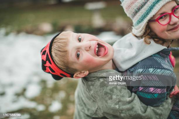 kids being silly and playing outside - sioux falls stock pictures, royalty-free photos & images