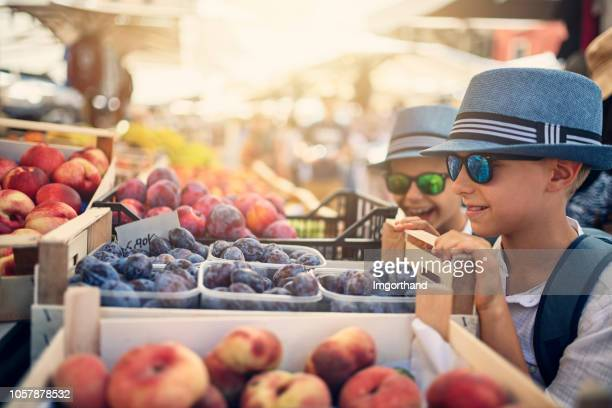 kids buying fresh organic oranges at verona street market - farmers market stock pictures, royalty-free photos & images
