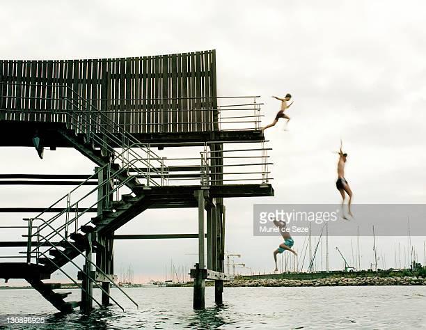 Kids by swimming platform