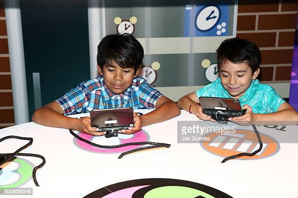 Kids check out YoKai Watch 2 for Ninendo 3DS at Siren Studios on September 8 2016 in Hollywood California