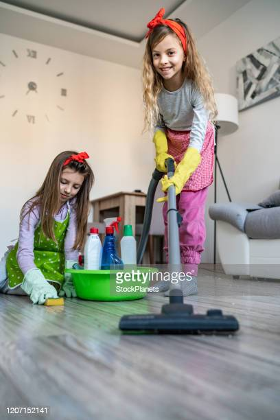 kids clean the house - kids with cleaning rubber gloves stock pictures, royalty-free photos & images