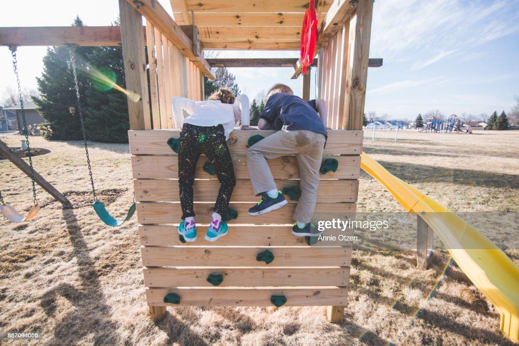 Kids Climbing Jungle Gym : Stock Photo