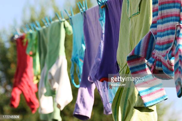 Kids Clothes Drying on a Clothing Line