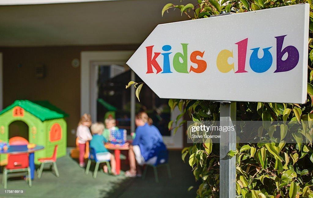 Kids club at holiday resort : Stock Photo