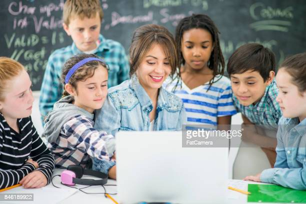 kids coding - classroom stock photos and pictures