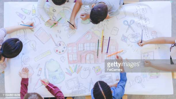 kids drawing back to school mural - coloring stock pictures, royalty-free photos & images