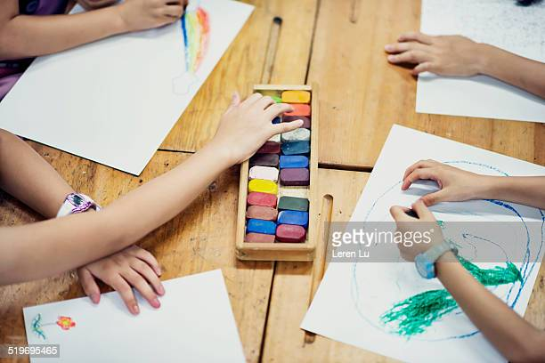 Kids drawing by crayons