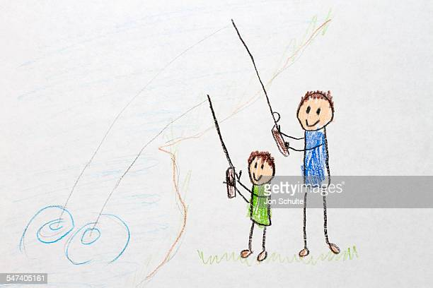 Kids drawing family fishing