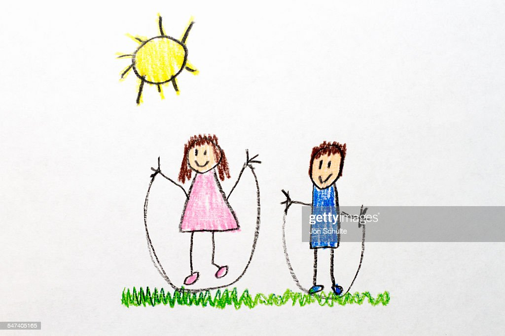 kids drawing jump rope stock photo getty images