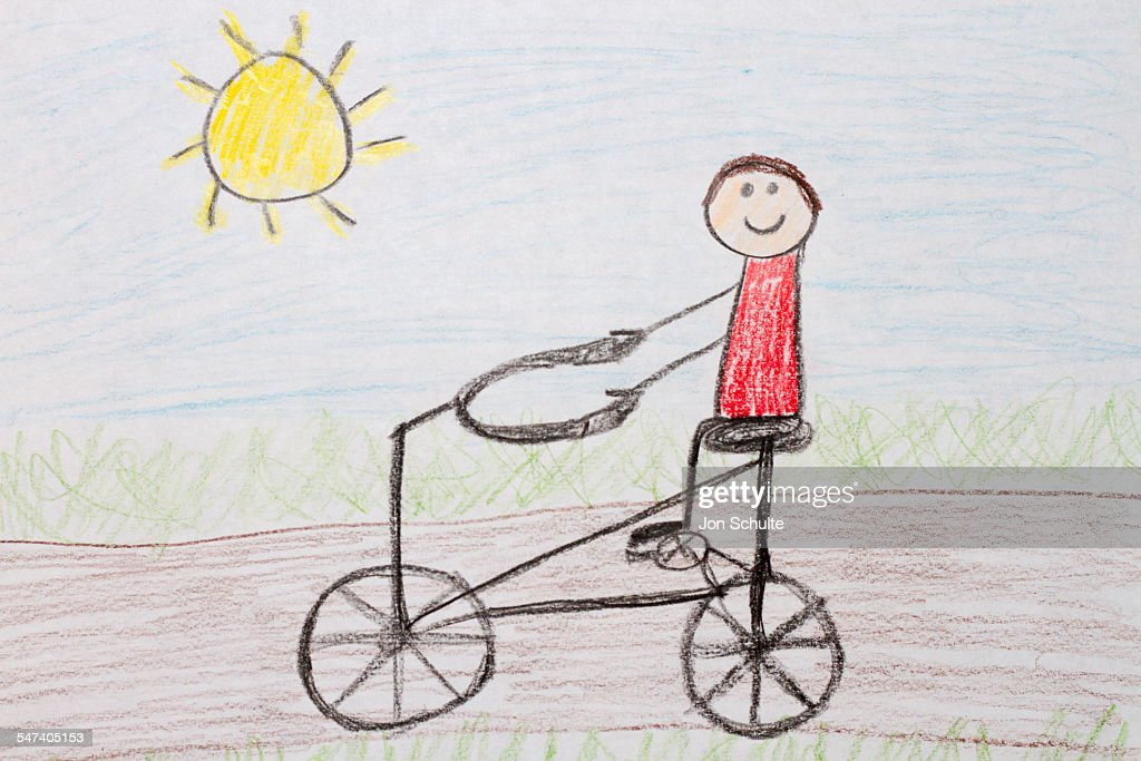 Kids Drawing Of Bike Rider Stock Photo Getty Images