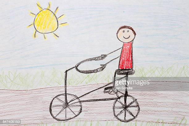 Kids drawing of bike rider