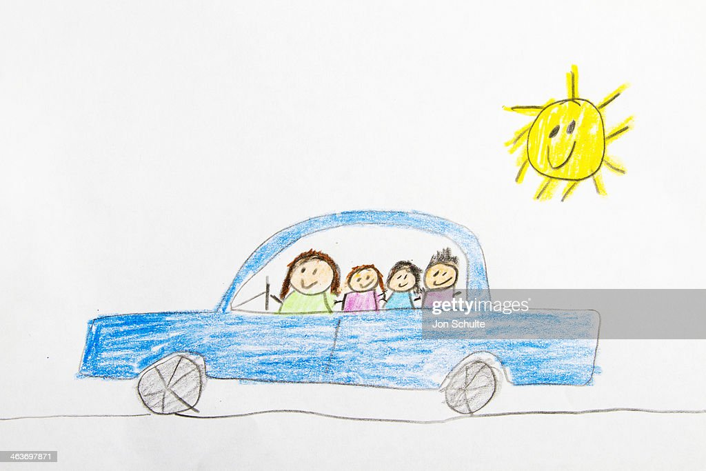 Kids Drawing Of Car Ride Stock Photo Getty Images