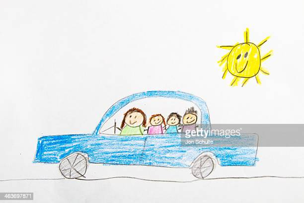 Kids drawing of car ride