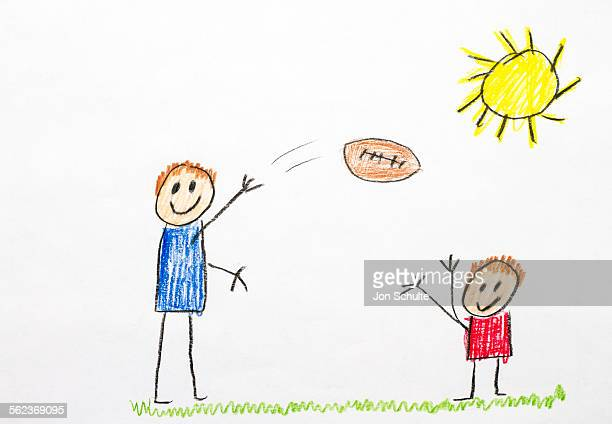 Kids drawing of football toss